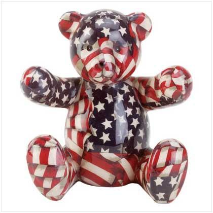 Patriotic Porcelain Patchwork Teddy Bear Bank 33824