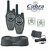 LOT OF 4 COBRA PR 3000 GMRS 6 MILE 2 WAY RADIOS WITH 2 DUAL DESKTOP CHARGERS & BATTERIES