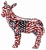 Large Patchwork Patriotic Red, White and Blue American Flag Donkey 31773